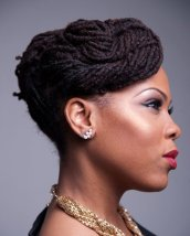 Long locs updo hairstyle